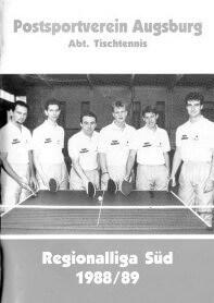 Saisonmagazin Post SV Augsburg Tischtennis 1988-1989