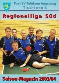 Saisonmagazin Post SV Augsburg Tischtennis 2003-2004