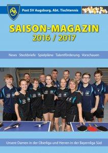 Saisonmagazin Post SV Augsburg Tischtennis 2016/2017